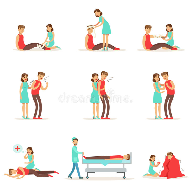 Woman Following Firs Aid Primary And Secondary Emergency Treatment Procedures Collection Of Infographic Illustrations royalty free illustration