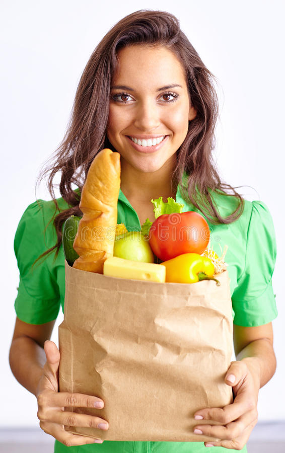 Woman with food royalty free stock photos