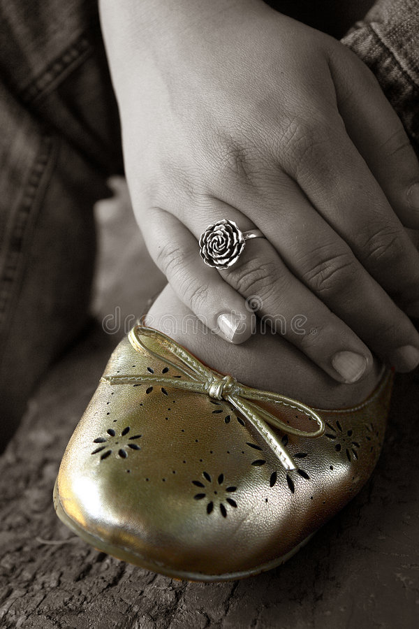 Download Woman foot resting stock photo. Image of shoe, ring, blue - 2539474