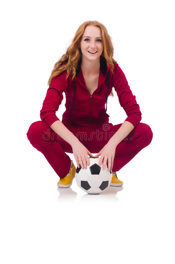 Woman With Football Stock Photo