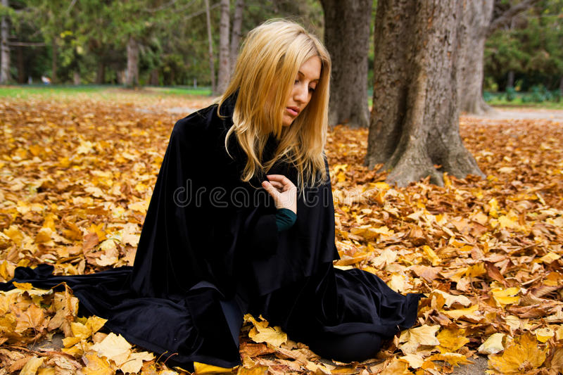 Woman In Forest. Stock Photos