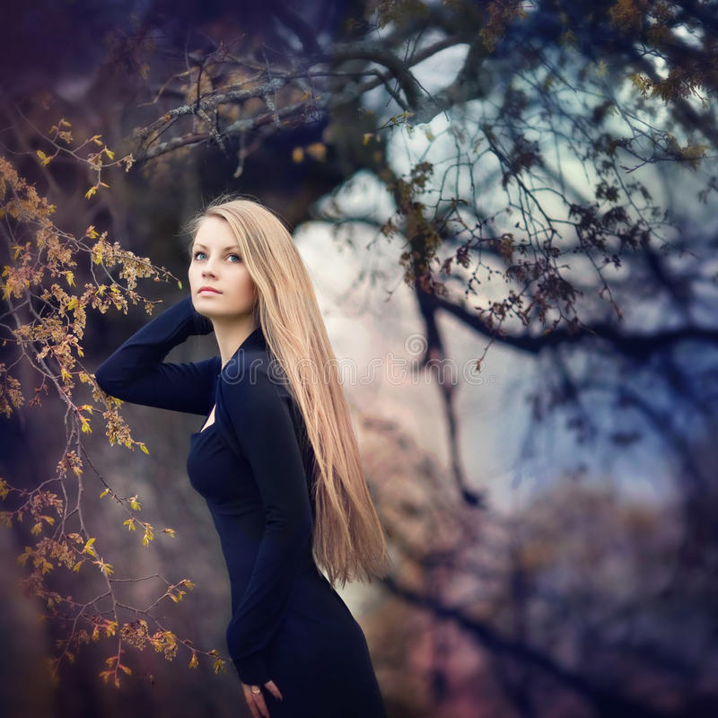 Woman in forest. Autumn, spring royalty free stock photography