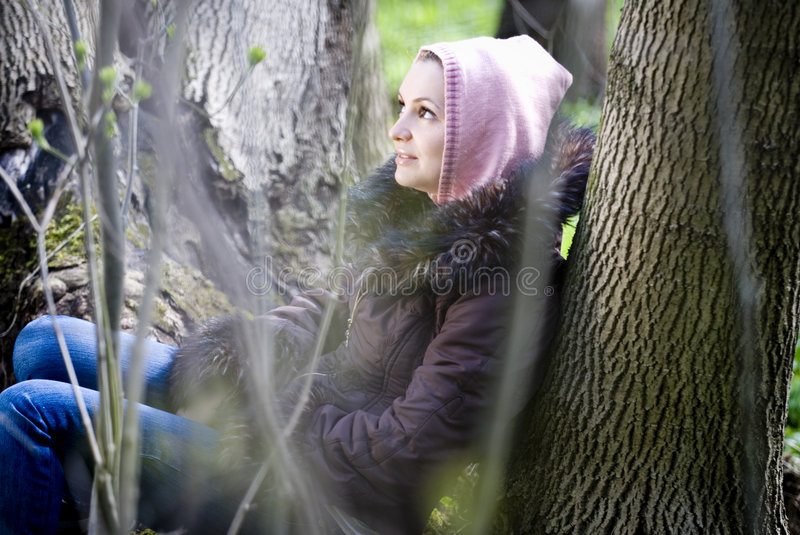 Download Woman in the forest stock image. Image of having, have - 2487757