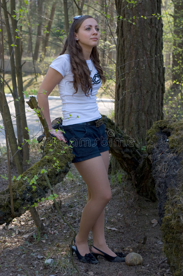A woman in the forest royalty free stock image