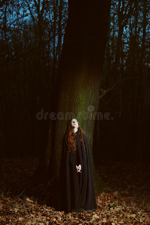 Woman in the forest at night royalty free stock photo