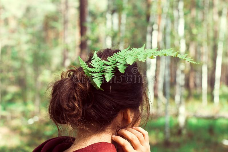 woman in forest stock photo