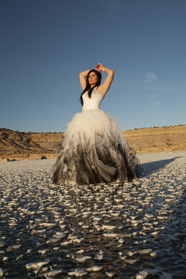 Woman formal dress ice hands over head. A woman in her formal dress in the outdoors standing on a snow covered frozen lake stock images
