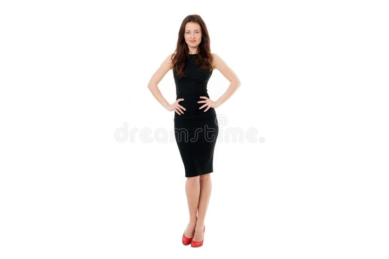 Woman in formal dress white background. Fashionable business lady. Luxury boutique. Fashion clothes shop. Official event. Elegant girl wear high heels. Simple stock photos