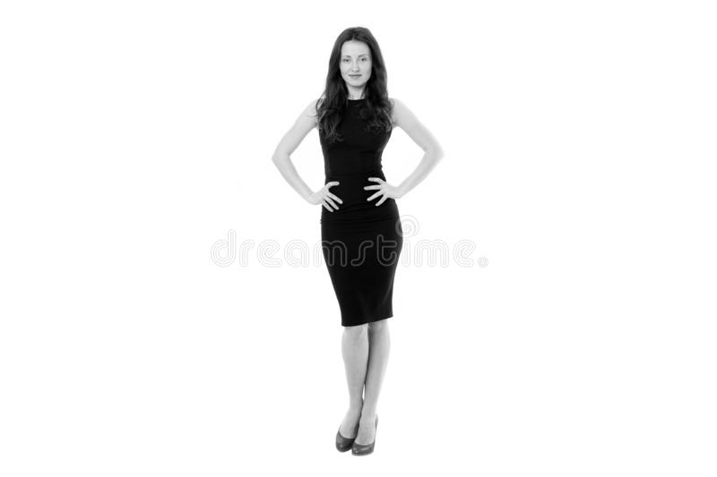 Woman in formal dress white background. Fashionable business lady. Luxury boutique. Fashion clothes shop. Official event. Elegant girl wear high heels. Simple royalty free stock photography