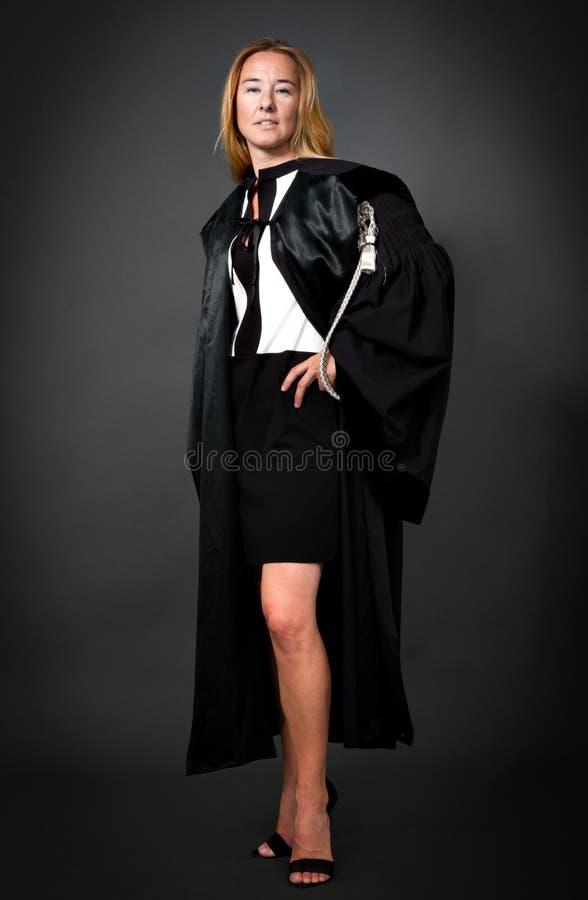 Woman in formal lawyer uniform