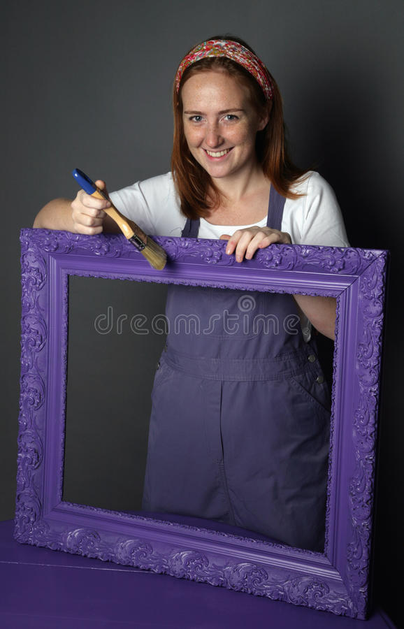 Woman and frame royalty free stock images