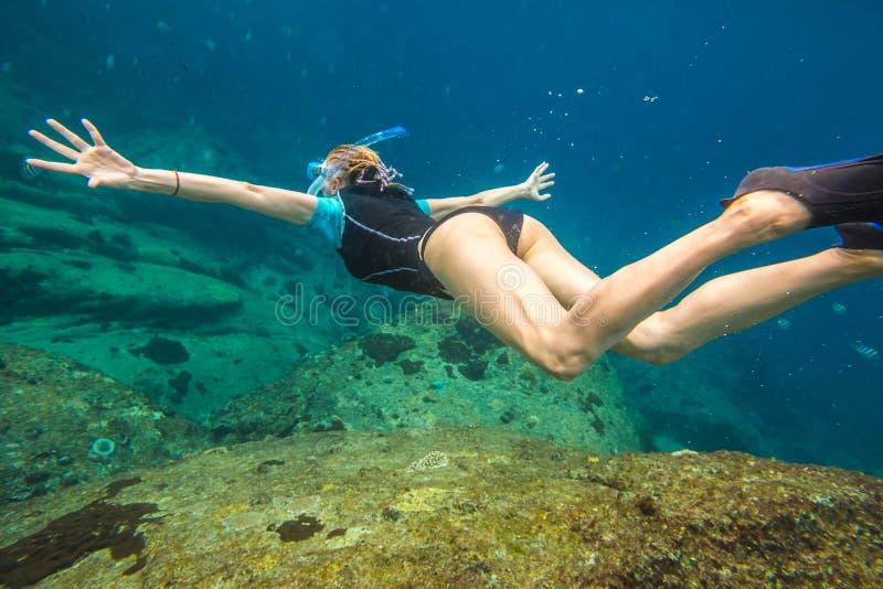 Woman free diving stock photos