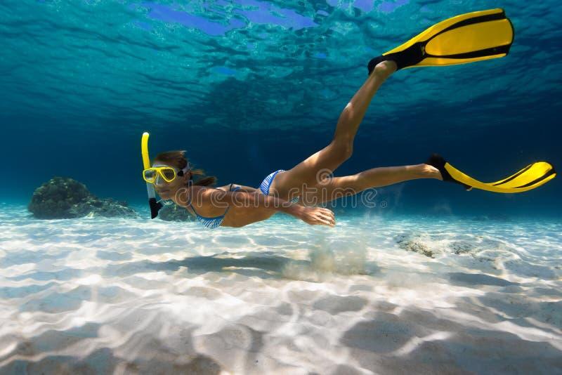 Woman freediver stock photography
