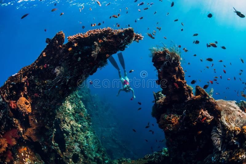 Woman freediver glides with fins at wreck ship. Freediving in blue ocean near wreck royalty free stock photo