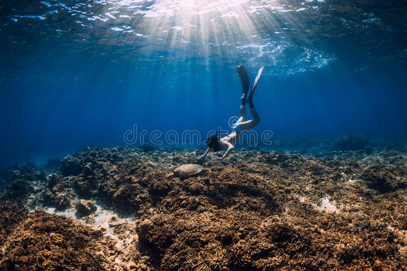 Woman freediver glides over reef bottom with fins and turtle royalty free stock photo