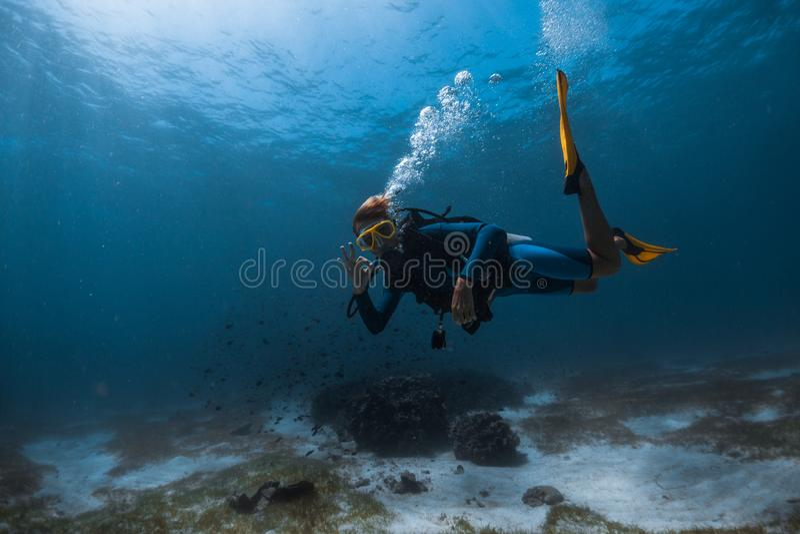 Woman freediver royalty free stock photo