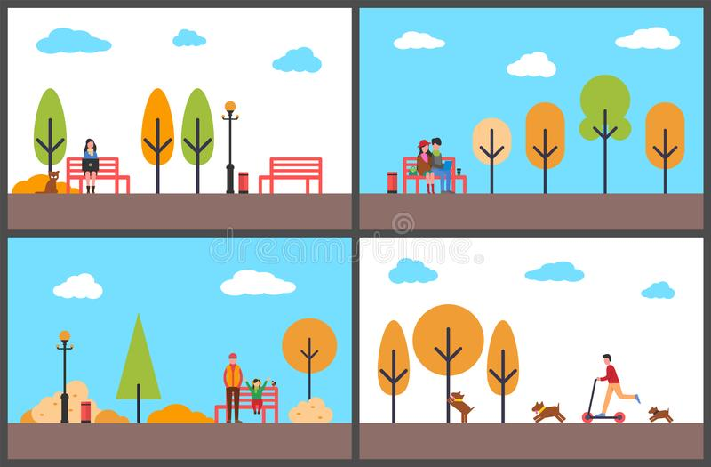 Woman Freelancer Working in Autumn Park People royalty free illustration