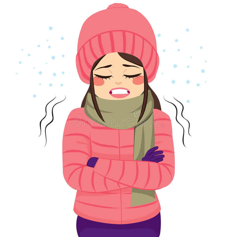 Woman Freezing Winter Clothes. Young woman freezing wearing winter clothes shivering royalty free illustration