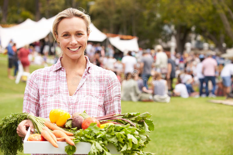 Woman With Fresh Produce Bought At Outdoor Farmers Market stock photos