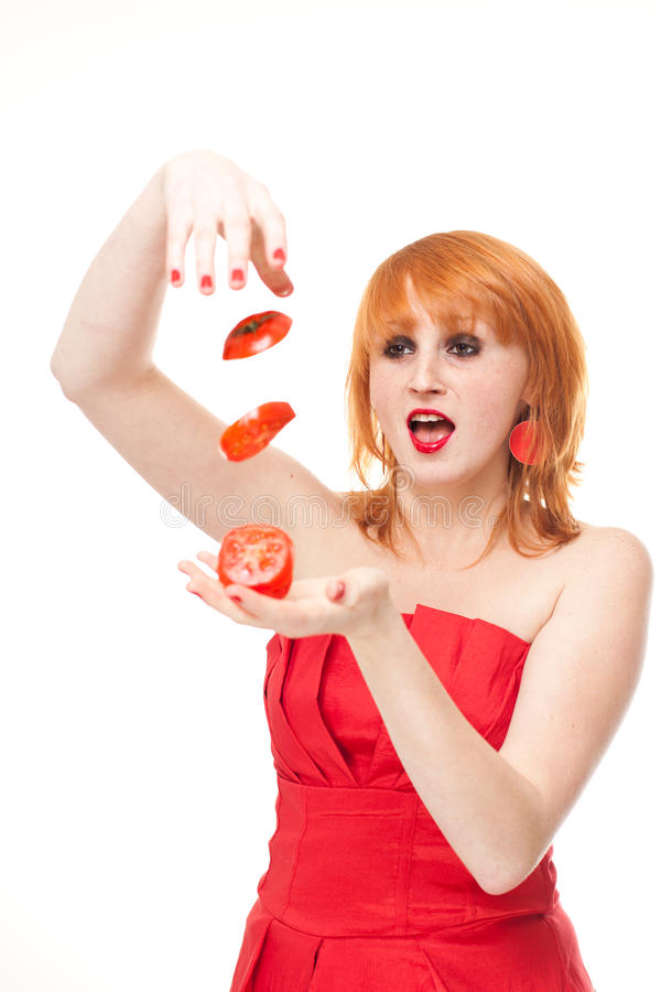 Download Woman With Fresh Sliced Tomato Stock Photos - Image: 21976923