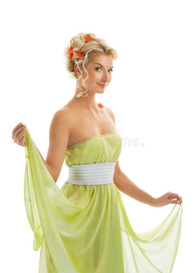 Woman with fresh spring flowers stock image