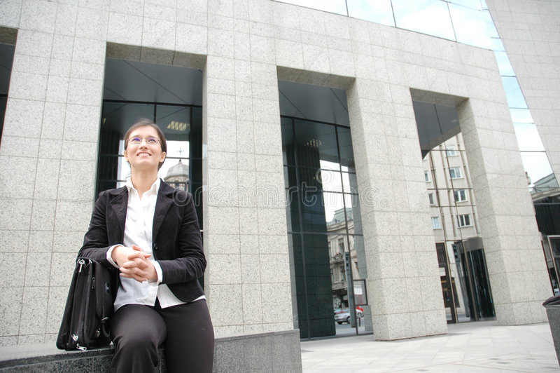 Download Woman In Fron Of A Corporate Building Stock Photo - Image of business, looking: 111666