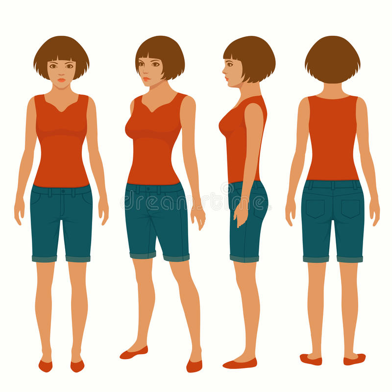 Woman , front, back and side view. Fashion young woman , front, back and side view, vector illustration, female figure stock illustration