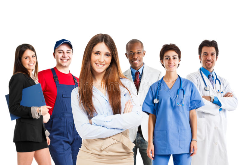 Woman in front of a group of workers royalty free stock image