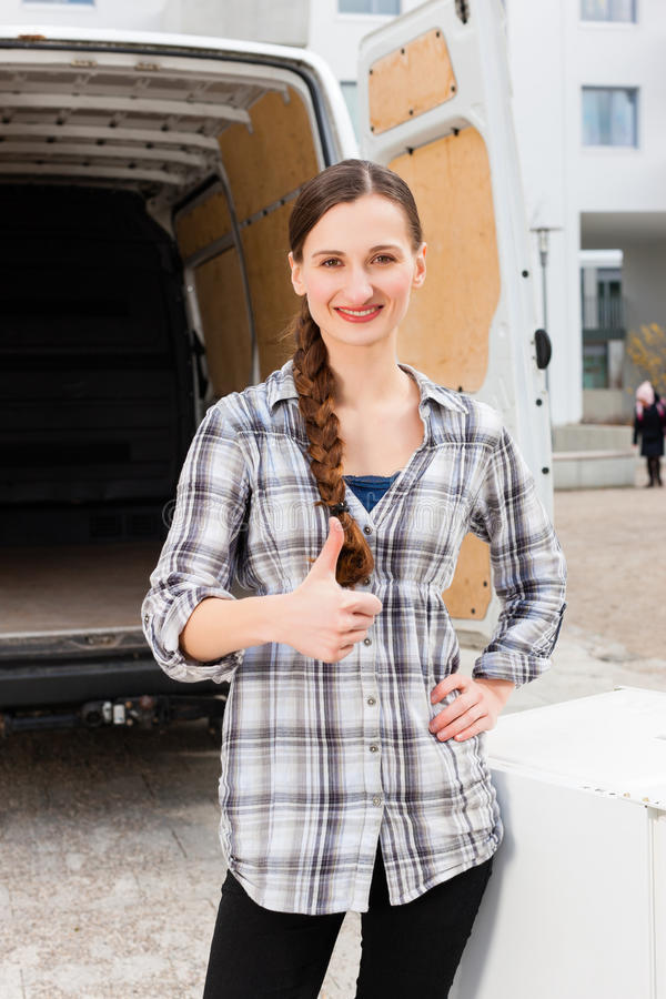 Download Woman In Front Of Moving Truck Stock Image - Image of empty, female: 24650429