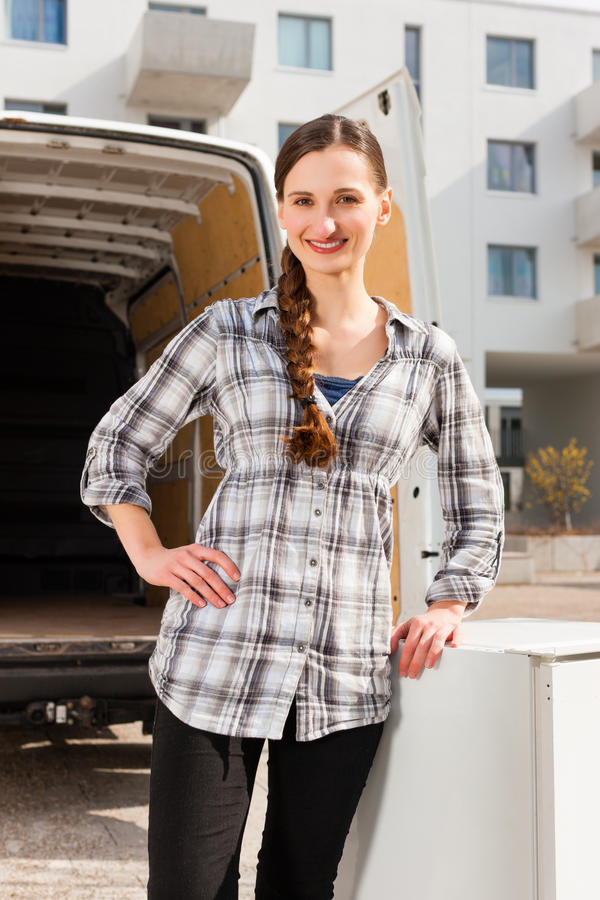 Download Woman In Front Of Moving Truck Stock Image - Image of work, furniture: 26622325