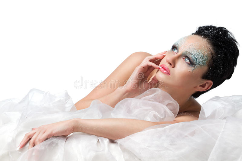 Woman With Frost On Face Royalty Free Stock Photography