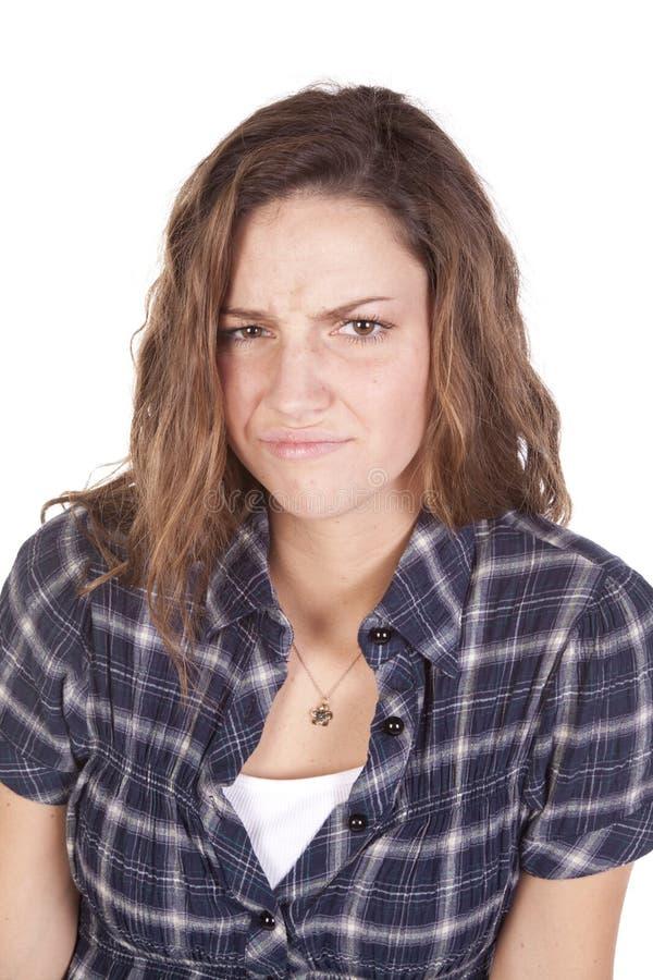Woman Frown Blue Shirt Stock Photos