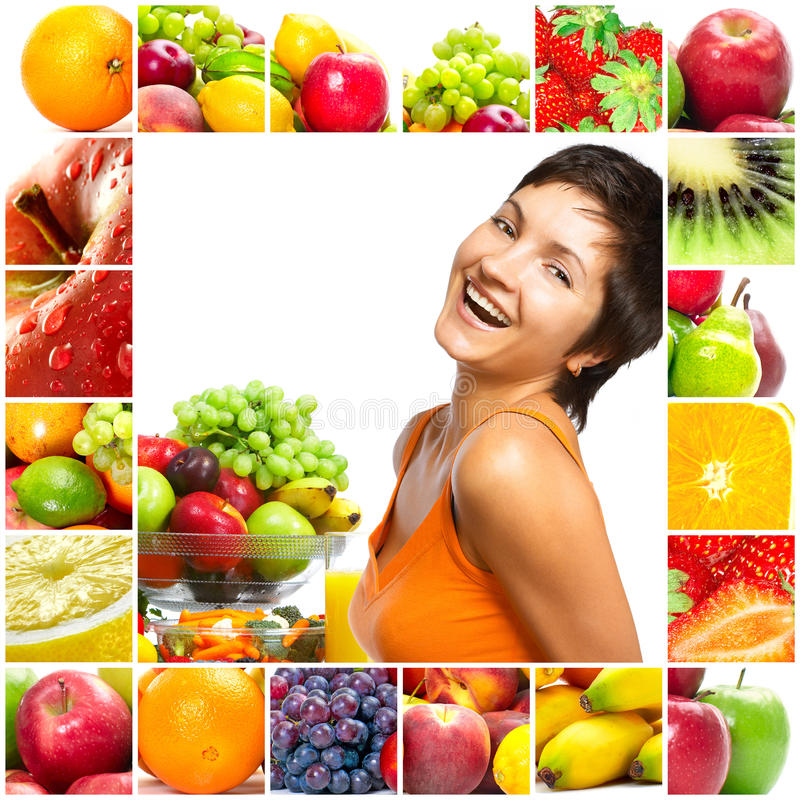 Woman and fruits royalty free stock photography