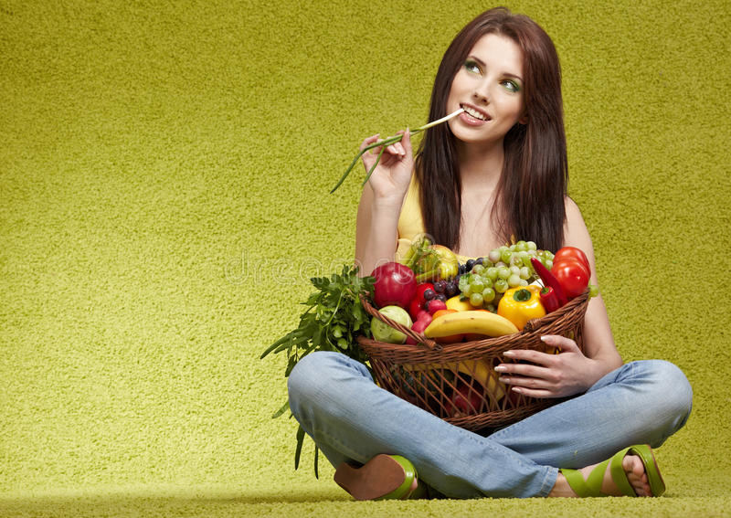 Download Woman with  fruits stock image. Image of attractive, freshness - 14836271