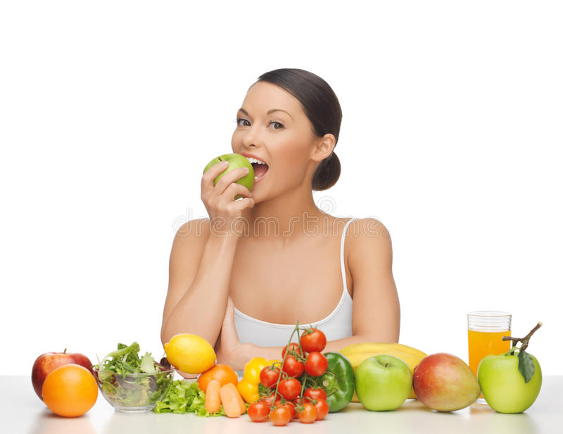 Woman with fruits and vegetables stock images