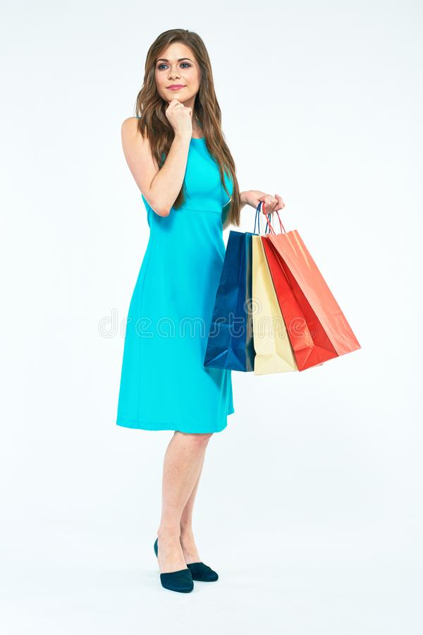 Woman full body portrait with shopping bag. Isolated stock photos