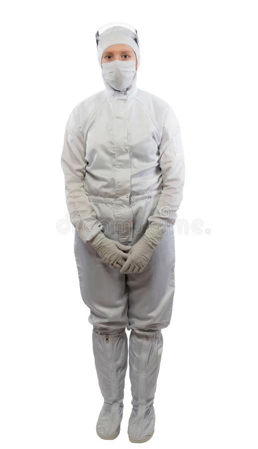 Woman in full growth, in white protective suit, on white royalty free stock images