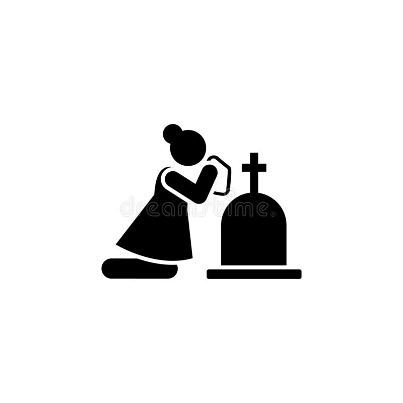 Woman funeral widow dead icon. Element of pictogram death illustration.  royalty free illustration