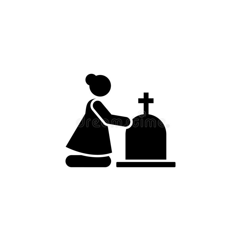 Woman funeral widow weep icon. Element of pictogram death illustration.  royalty free illustration