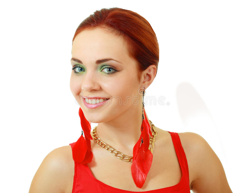 Woman In Funky Red Dress Royalty Free Stock Photos