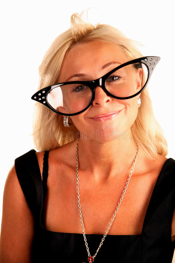 Woman in funny big glasses royalty free stock images