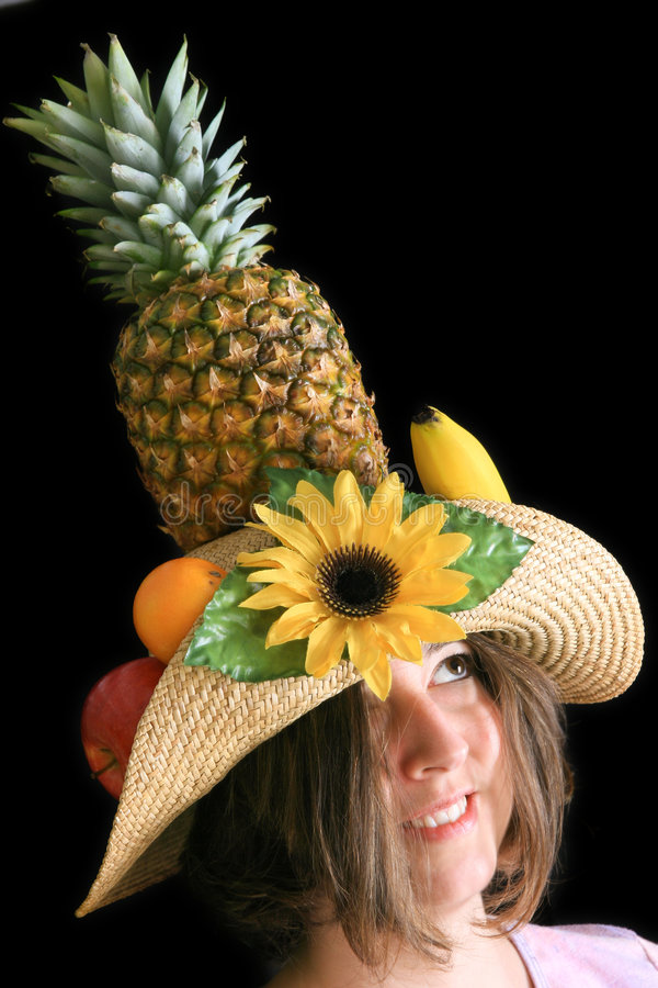 Download Woman with funny fruit hat stock image. Image of portrait - 3870707