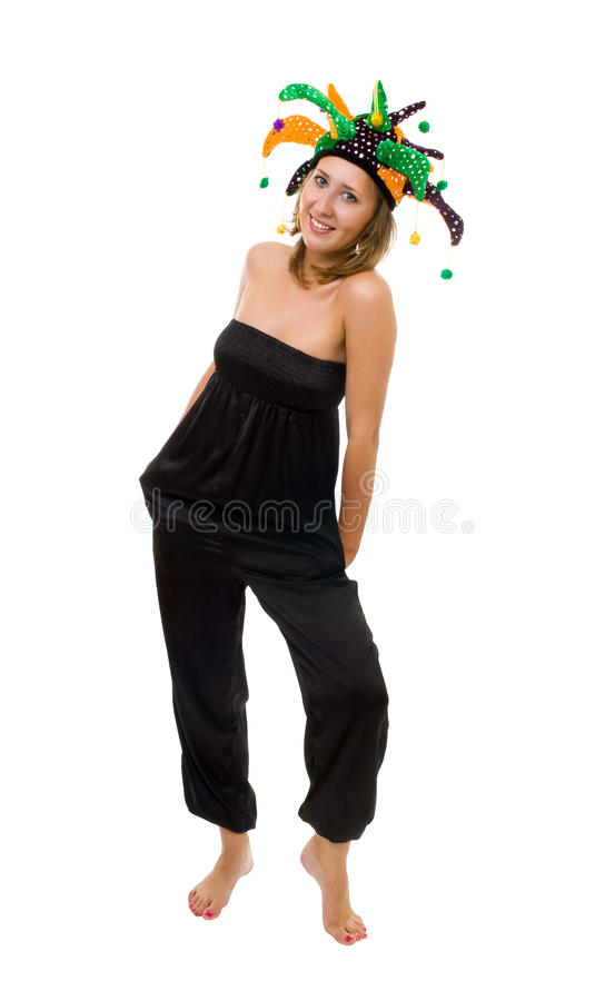 Woman in funny hat royalty free stock photo