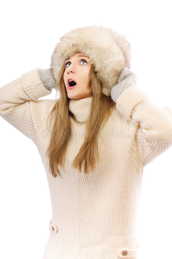 Download Woman In Fur Cap And Sweater Stock Photography - Image: 19691632