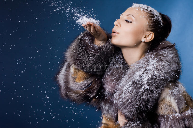 Download Woman in a fur coat stock image. Image of healthy, cold - 16991525