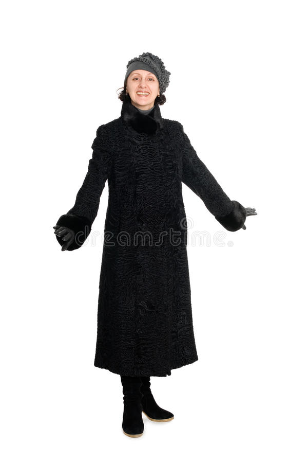 Woman in a fur coat from broadtail royalty free stock photo