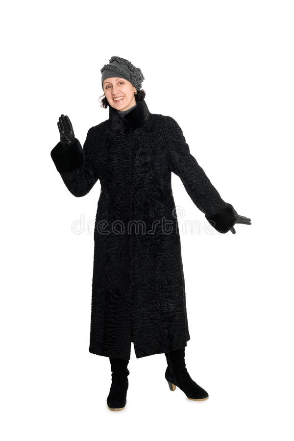 Woman in a fur coat from broadtail stock images