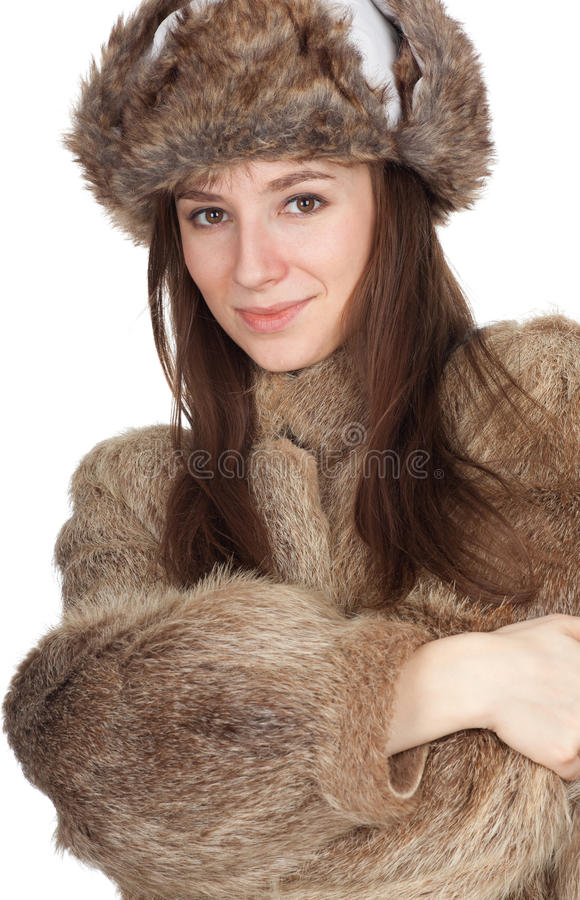 Download Woman In A Fur Coat And Hat Stock Image - Image: 18364203