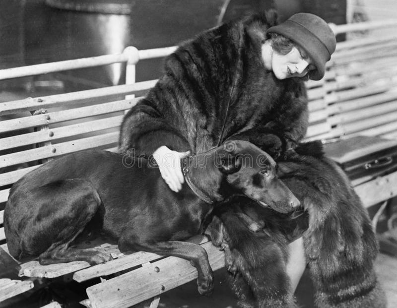 Woman in a fur coat sitting on a bench petting her dog royalty free stock photos
