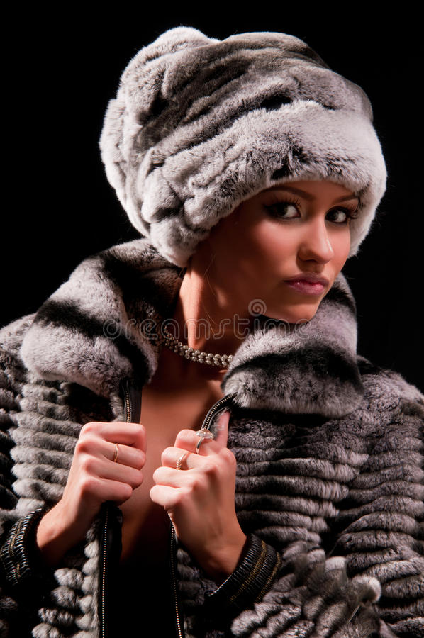 Download Woman in a fur hat stock photo. Image of white, make - 20810186